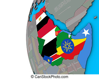 Northeast Africa with flags on 3D globe
