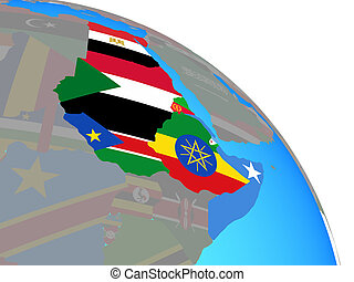 Northeast Africa with national flags on simple blue political globe. 3D illustration.