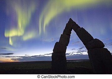 The Arctic Henge - Northen ligths at The Arctic Henge...