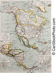 America - Northern and Central America old map, with New...
