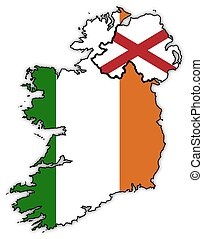 Northern And Republic Of Ireland Flags In Maps