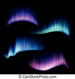 Northern aurora lights strips, borealis vector set -...