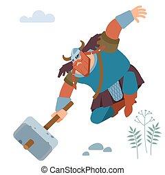 Northern barbarian Viking knight with sledgehammer attacks. Vector flat illustration.