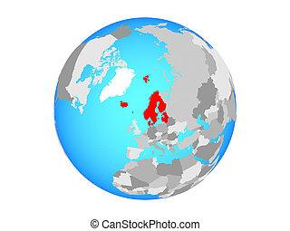 Northern Europe on globe isolated