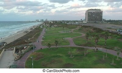 Northern HaTsuk beach park of Tel Aviv shot clip