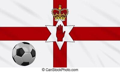 Northern Ireland flag and football rotates, loop - Northern...