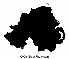 Northern Ireland silhouette map isolated on white background