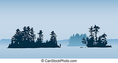 Remote islands on a northern Ontario lake.