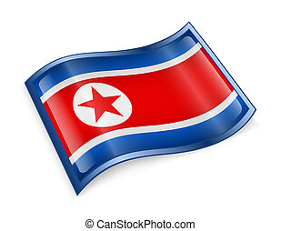 Northern Korea Flag Icon, isolated on white background.