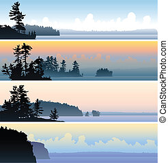 A set of four scenic banner illustrations of northern lakes and shorelines.
