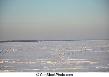 Northern lake in winter