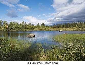 northern landscape with river basin of Kamajokk, boulders, mountain peaks and spruce tree forest in Kvikkjokk in Swedish Lapland. Summer sunny day, dramatic clouds.
