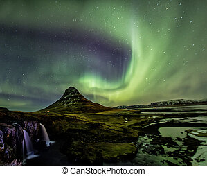 Northern Light Aurora borealis at Kirkjufell Iceland
