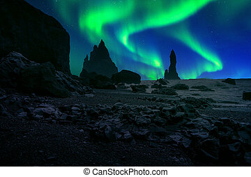 Northern Light, Aurora borealis at Vik in Iceland.