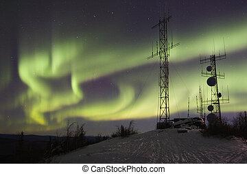 Northern lights above antennas - Aurora borealis above...