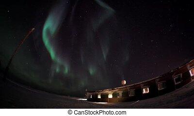 Northern lights and polar station