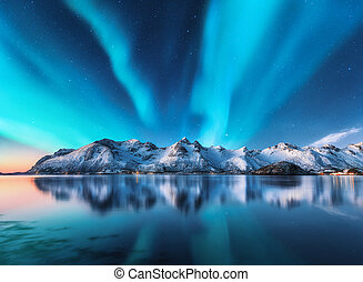 Northern lights and snow covered mountains in Lofoten islands