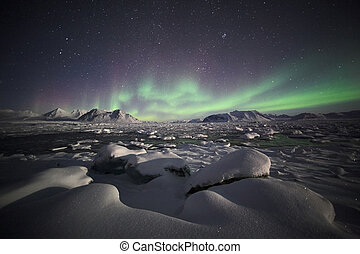 Northern Lights, Arctic landscape - Natural phenomenon of...