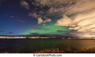 Northern Lights Aurora Borealis in Night Sky