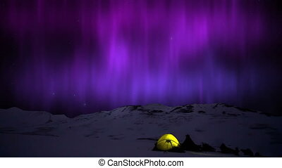 Northern Lights aurora Borealis in the snowy mountains and yellow tent.