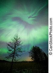 Northern lights aurora borealis landscape