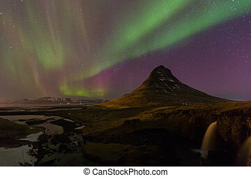 Northern Lights - Aurora borealis over Kirkjufell