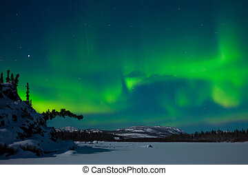 Northern Lights (Aurora borealis) over moon lit snowscape of...