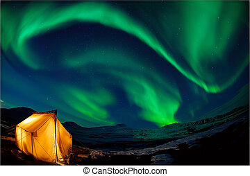 Northern lights - Camping in the north with the northern...