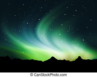 Northern lights - Background showing Northern lights in the...