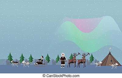 Northern lights concept vector illustration in flat style