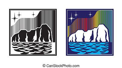 northern lights - stylized illustration. iceberg, the night...