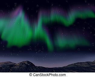 Northern lights - Illustration of the amazing aurora ...