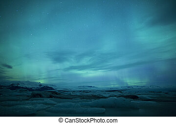 Northern lights in Iceland - A high resolution image of...