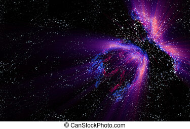 galaxy - northern lights in the black space of the galaxy