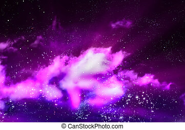 northern lights in the black space of the galaxy