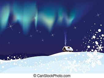 Northern Lights on Christmas night - Lonely hut in the...