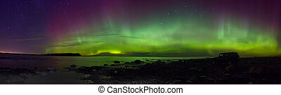 Northern lights on lake Ladoga, Russia, November 03, 2015 ,...