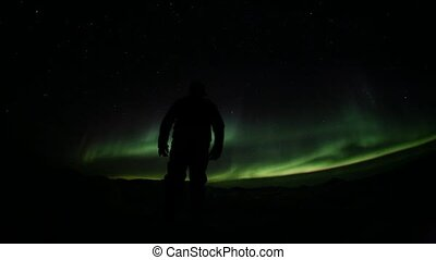 Northern Lights on the Svalbard sky