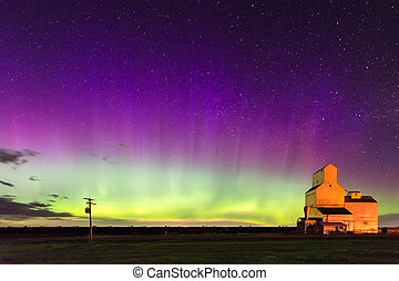 Northern Lights over a historic grain elevator in Saskatchewan, Canada
