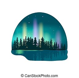 Northern lights over deep forest icon