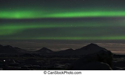 Northern Lights over frozen fiord