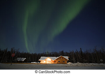 Northern Lights over house in southcentral Alaska