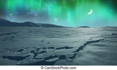 Northern Lights over Icy Plain - Animation of shining...
