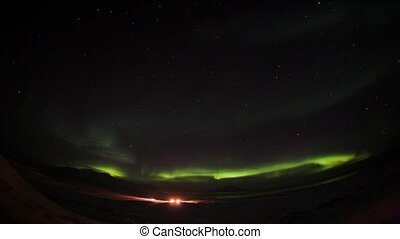 Northern lights over Polar Station - Natural phenomenon of...
