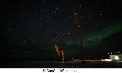 Northern lights over polar station