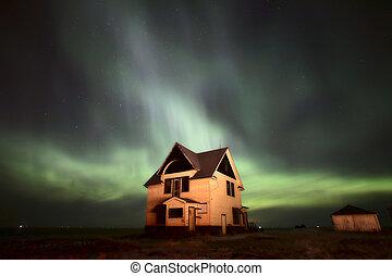 Northern Lights over Saskatchewan farmhouse