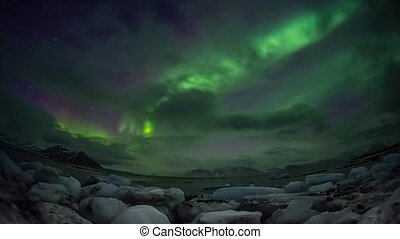 Northern Lights over the Arctic fjord