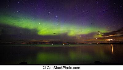 Northern Lights over the lake