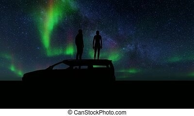 Northern Lights People stand on car starry night Summer landscape background