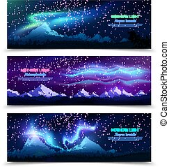 Northern Lights Realistic Banners - Northern lights aurora...